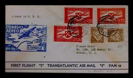 1939 Aviation Avions FAM 18 Courrier Transports Portugal 1st Trasatlantic Air Mail Flight Lisboa Azores N.Y. USA Gc3993 - Poste Aérienne