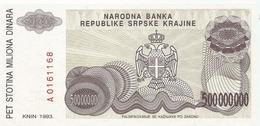 Croatia Knin Krajina 500.000.000 Dinara 1993. UNC  P-R26 - Croatie