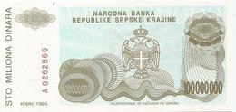 Croatia Knin Krajina 100.000.000 Dinara 1993. UNC   P-R25 - Croatie