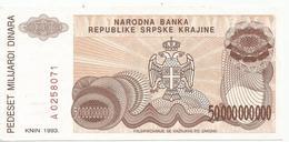 Croatia Knin Krajina 50.000.000.000 Dinara 1993.  P-R29 - Croatie