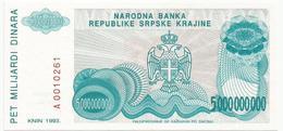 Croatia Knin Krajina 5.000.000.000 Dinara 1993.   P-R27 - Croatia