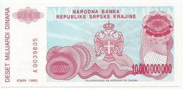 Croatia Knin Krajina 10.000.000.000 Dinara 1993.   P-R28 - Croatie