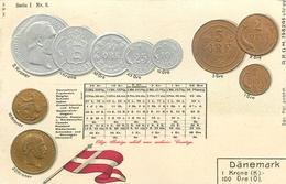 REPRESENTATION DES MONNAIES DU DANEMARK - TRES BELLE CPA PRECURSEUR GAUFFREE - TABLEAU EQUIVALENCE  AUTRES MONNAIES - Monnaies (représentations)