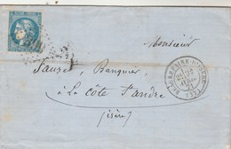 Yvert 46B ? Sur Lettre Rozier St Barthélémy Cachet BEAUREPAIRE D' ISERE 22/4/1871 GC 399 Pour La Côte St André - Marcophilie (Lettres)