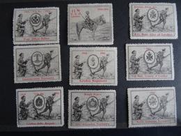 9 Vignettes Delandre Différentes 1914-1916 Grande Bretagne - MNH état Neuf - Erinnofilia
