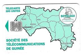 Télecarte Sotelgui Guinée 100 Unités Vert Pale - Guinea