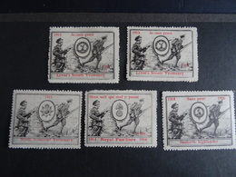 5 Vignettes Delandre/Cinderella 1914-1916 Grande Bretagne - Mentions En Français - MNH Etat Neuf VOIR - Military Heritage