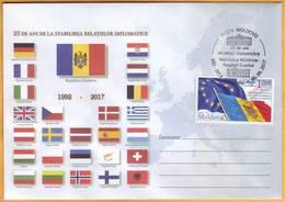 2017  Moldova Moldavie Moldau. Diplomatic Relations. Moldova Sweden  25 Years. Special Cancellations. Envelopes. - Moldawien (Moldau)