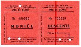 Ticket Train TMB Chemin De Fer Biljet Billet  Mer De Glace Depart  Gare De Montenvers à Chamonix - Eisenbahnverkehr