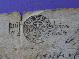 1680 Généralité De Grenoble (Isère) Rare Papier Timbré N°44 De 2 Fois Huit Deniers La 1/2 Feuille Régis Charles - Seals Of Generality