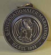 Rare Médaille 6 ème Marathon International De Bâle En Suisse 1981 Diamètre 5 Cm - Altri Paesi