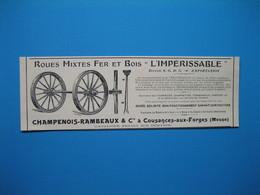 (1906) Roues Mixtes Fer Et Bois Pour Charrettes, Tombereaux, Camions. CHAMPENOIS-RAMBEAUX à Cousances-aux-Forges (Meuse) - Non Classificati
