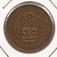 NEW ZELAND/NOUVELLE ZELAND HALF PENNY 1942 DIFICILLE - Nouvelle-Zélande