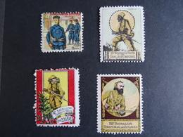 4 Vignettes Delandre/Cinderella Tirailleurs Chinois, Zouaves (2) Et Tirailleurs Indigènes MNH - Voir Scan - Military Heritage