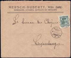 Lettre Commerciale: Mersch-Huberty Wiltz, Semences, Levures, 16.12.1923, Michel 2019: 128 - Luxembourg