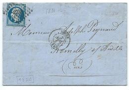 N° 14 BLEU NAPOLEON SUR LETTRE / ROUEN POUR ROMILLY SUR ANDELLE / 2 NOV 1857 / PLANCHAGE 18 D4 - 1849-1876: Période Classique