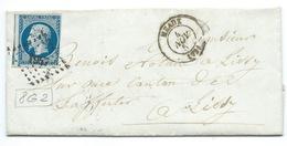 N° 14 BLEU NAPOLEON SUR LETTRE / MEAUX POUR LISSY / 4 NOV 1857 / PLANCHAGE 8G2 - Storia Postale