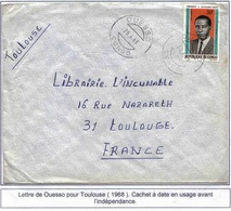 Congo Lettre Ouesso 1968 Cover Président - Congo - Brazzaville