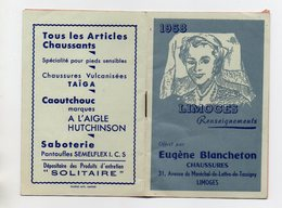CALENDRIER DE POCHE DE 1958 AVEC RENSEIGNEMENTS - 87 - LIMOGES - PUBLICITE CHAUSSURES EUGENE BLANCHETON - Calendarios
