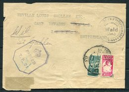 WW2 South Africa Censor Cover (Front Only) Internment Camp Devades Wald Zurich, Wil St Gallen, Switzerland - Storia Postale