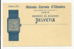 Typographic Item - Card - Antonio Correia D'Oliveira - Deposito De Relogios Helvetia - Porto - Portugal - Publicités