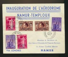 Inauguration De L'aérodrome Namur-Temploux Via Londres 22 Juin 1947 - Luftpost
