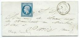 N° 14 BLEU NAPOLEON SUR LETTRE / CLAYE SOUILLY POUR PARIS / 3 DEC 1857 - Marcophilie (Lettres)