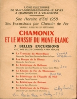 Ligne Electrique De Saint-Gervais-Les-Bains-Le Fayet à Chamonix Et à Vallorcine/Horaire 1958/Excursions Chemin De Fer - Chemin De Fer & Tramway