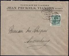 Lettre: Tannerie De Vianden Jean Peckels, Vianden, Cachet Diekirch 4.8.1924, Michel: 128 - Luxembourg