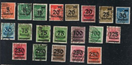 1923 Sept. Inflationsausgaben Mi DR 277 - 296 Sn DE 242 - 260 Yt DR 252 - 273  Sg DR 274 - 293 Gest. O - Deutschland