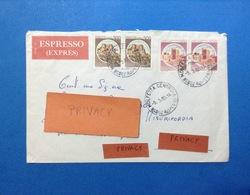 ITALIA COPPIA CASTELLO 200 LIRE + COPPIA 300 SU BUSTA ESPRESSO ANNULLO MOLFETTA CENTRO BARI - 6. 1946-.. Republic