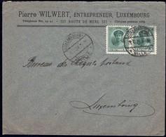 Lettre: Pierre Wilwert, Entrepreneur Luxembourg, Cachet  Mersch 24.10.1924, Michel: 128 Paire - Luxembourg