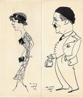 RAOUL XIM - CARICATURISTE DE LA TOUR EIFFEL - CURISTES A VITTEL 1934 TROIS CARICATURES ORIGINALES A L' ENCRE DE CHINE - Dessins