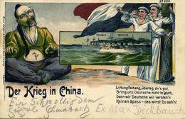 China, BOXER REBELLION, Caricature, Li Hongzhang, German Soldiers Warship (1900) Postcard - China
