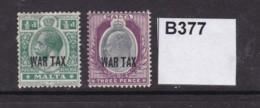 Malta 1918 War Tax ½d And 3d (MM) - Malta (...-1964)