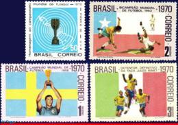 Ref. BR-1166-69 BRAZIL 1970 FOOTBALL-SOCCER, WORLD CUP CHAMPIONSHIP,, MEXICO,MI# 1260 1262-64,SET MNH 4V Sc# 1166-1169 - Ungebraucht