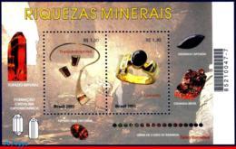 Ref. BR-2828 BRAZIL 2001 GEOLOGY, JEWELRY, MINERALS,, GEMSTONE, MI# B117, S/S MNH 2V Sc# 2828 - Mineralien
