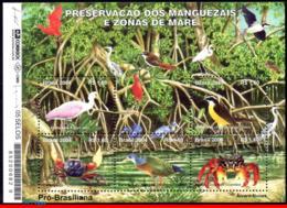 Ref. BR-2926 BRAZIL 2004 ANIMALS, FAUNA, PRESERVATION OF MANGROVE, SWAMPS, BIRDS, CRAB, MI# B127, S/S MNH 5V Sc# 2926 - Brésil