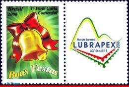 Ref. BR-3002 BRAZIL 2006 CHRISTMAS, RELIGION, BELL, LUBRAPEX,, STAMP PERSONALIZED MNH 1V Sc# 3002 - Brazil