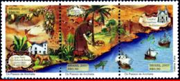 Ref. BR-3011 BRAZIL 2007 RELIGION, FOOTSTEPS OF ANCHIETA,, CHURCHES, SHIPS, DOG, SET MNH 3V Sc# 3011 - Barche