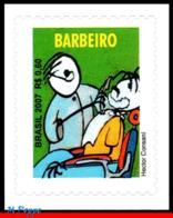 Ref. BR-3020A BRAZIL 2007 JOBS, BARBER, OCCUPATION,, PROFESSIONS, SELF-ADHESIVE MINT 1V Sc# 3020A - Métiers