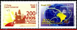 Ref. BR-3034-35-S BRAZIL 2008 SHIPS, BOATS, OPENING OF THE PORTS,, FOREIGN TRADE, SET SE-TENANT MNH 2V Sc# 3034-3035 - Bateaux
