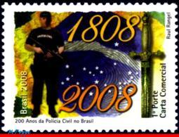 Ref. BR-3046 BRAZIL 2008 POLICE, CIVIL POLICE, 200 YEARS,, HISTORY, MNH 1V Sc# 3046 - Stamps