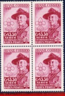 Ref. BR-C87-Q BRAZIL 1957 - FAMOUS PEOPLE, LORD BADEN-POWELL, CENT., ANNIV., SCOUTING, MNH,4V Sc# C87 - Blocs-feuillets