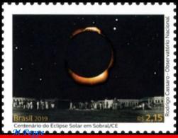Ref. BR-V2019-07 BRAZIL 2019 - SOLAR ECLIPSE IN SOBRAL,, ALBERT EINSTEIN, RELATIVITY THEORY, MNH, SCIENCE 1V - Albert Einstein