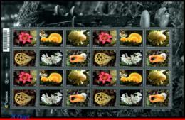 Ref. BR-V2019-08-F BRAZIL 2019 FLOWERS, PLANTS, DIVERSITY OF FUNGI,, MUSHROOMES, MERCOSUL SERIES, SHEET MNH 24V - Blocks & Sheetlets