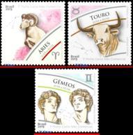 Ref. BR-V2019-SIGN BRAZIL 2019 ASTROLOGY, ZODIAC SIGNS, ARIES, TAURUS GEMINI, SET MNH 3V - Unused Stamps