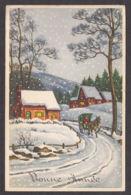 96993/ NOUVEL AN, Cheval, Attelage, Village, Coloprint 53726/1 - Nouvel An