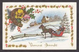 97013/ NOUVEL AN, Cheval, Traîneau Attelé, Fleurs, Pensées, Fer à Cheval, 53875 - Nouvel An