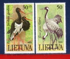 Ref. LT-403-04 LITHUANIA 1991 - FAUNA, NATURE,, MI# 489-490, SET MNH, BIRDS 2V Sc# 403-404 - Lituanie